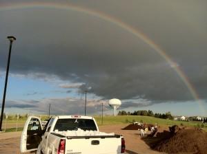 Rainbow in Bismarck on Sunday (picture stolen off Juanita Lee's Facebook page)